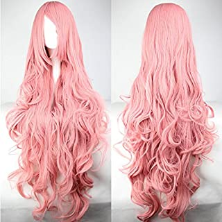 Womens/Ladies 100cm PINK Color Long CURLY Cosplay/Costume/Anime/Party/Bangs Full Sexy Wig