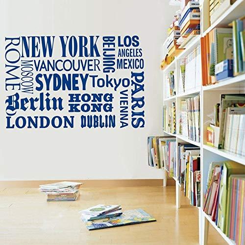 Blrpbc Pegatinas de Pared Adhesivos Pared Nueva York Londres París Cita Nombres de Ciudades del Mundo Arte de Vinilo DIY decoración de la Oficina en casa 85x57cm