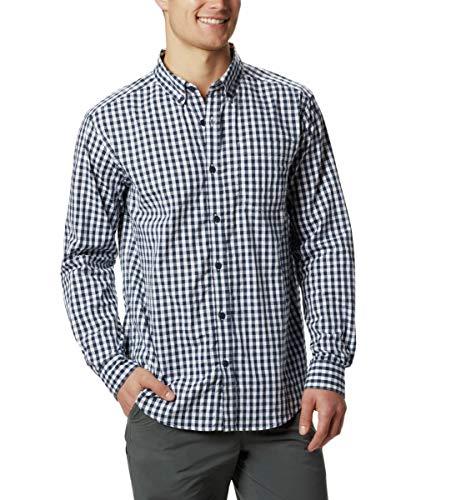 Columbia Men's Rapid Rivers II Long Sleeve Shirt, Collegiate Navy Gingham, Large