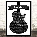 EaYanery Barbies - Póster con texto en inglés «Barbies», diseño de canción inspirada en guitarra, 45,7 x 35,5 cm