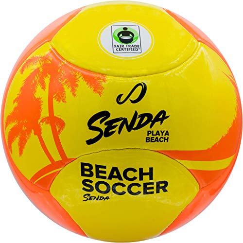 Senda Playa Beach Soccer Ball, Fair Trade Certified, Arancione/Giallo, SFT1016-4OR, Orange/Yellow, Size 4 (Ages 8-12)
