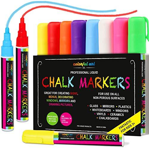Lote de 8 rotuladores de tiza líquida Colorful Art Professional, ideal para niños, para pizarras no porosas, cristales y ventanas, tinta borrable, con punta reversible de 6 mm (fina o biselada), color