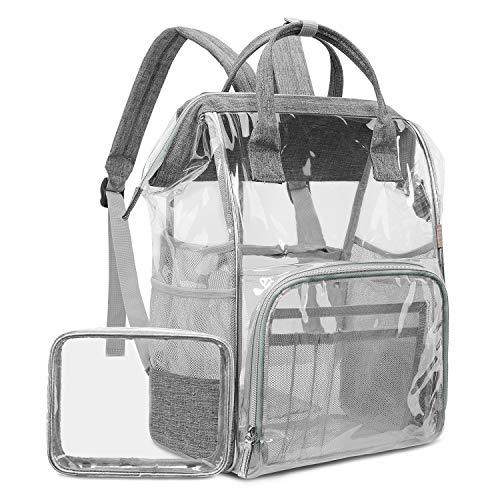 LOKASS Clear Backpack Transparent PVC Multi-Pockets School Backpacks/Outdoor Backpack Fit 15.6 Inch Laptop Safety Travel Rucksack with Grey Trim-Adjustable Straps & Mesh Side(Grey)
