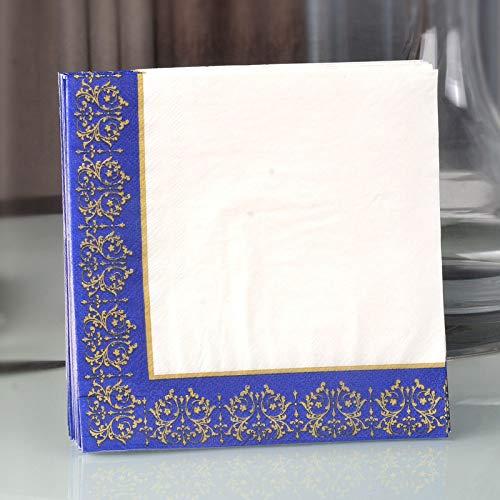 CXIANHUI Servilletas De Papel,Oro Azul Color De Borde De Papel Impreso De Puntilla Almuerzo Vino Servilletas Flor De Cristal Flor De Papel De 100 Hojas De Papel Paleta De Madera