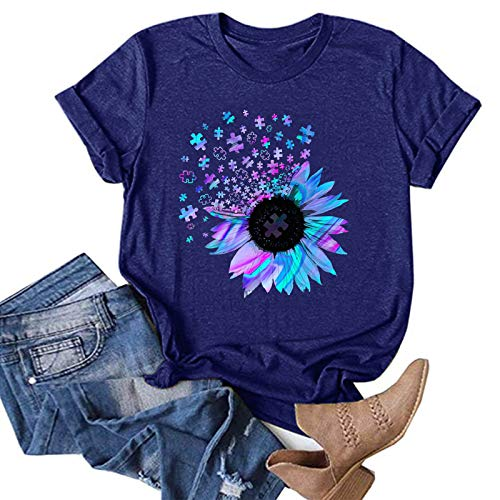 Womens Summer Tops Whycat Casual Short Sleeve Loose Fit Sunflower Graphic Tees Vintage Shirts Blouses Graphic Tshirt(Blue,S)