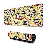 Betty Boop - Alfombrilla de ratón con borde cosido, impermeable, base de goma antideslizante para ordenador portátil, PC, oficina, bonito diseño de accesorios de escritorio
