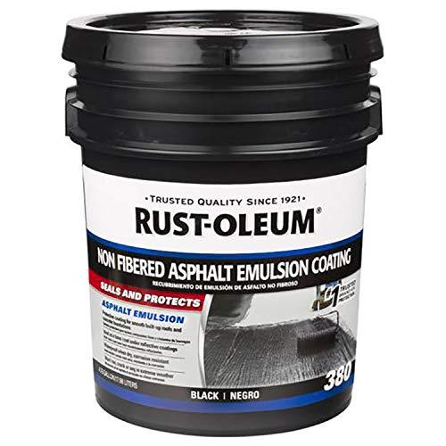 Rust-Oleum 301998 Damp Proof Paint - Roofing 380 Non-Fibered Asphalt Emulsion Roof Coating - 18 Liters (Black)