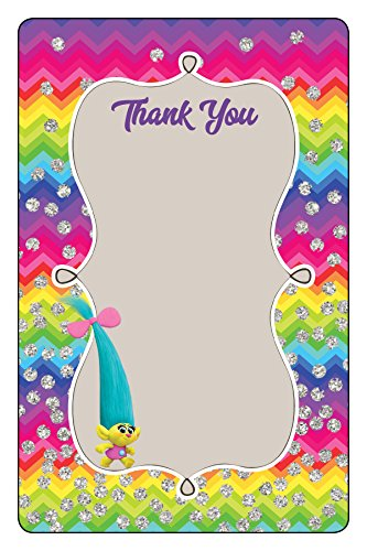Trolls Party - Flat 4x6 Thank You Card (10 Count)
