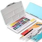 Ulikey Set de Acuarelas de 36 Colores de Agua, Pinturas de Acuarela Sólida Set - 1 Pinceles de Agua, 1 Pinceles Acuarelas, 1 Resaltador, 1 Esponjas, 8 Papel (Azul)