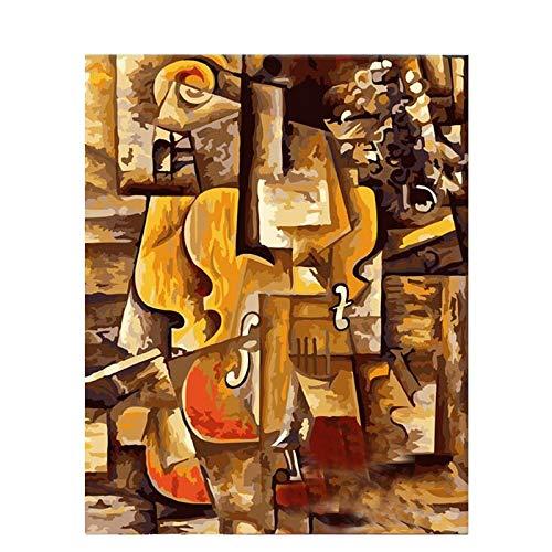 wdsdtt Malen nach Zahlen Picasso Violine handgemachte Farbe hochwertige Leinwand schöne Malen nach Zahlen Überraschungsgeschenk große Leistung