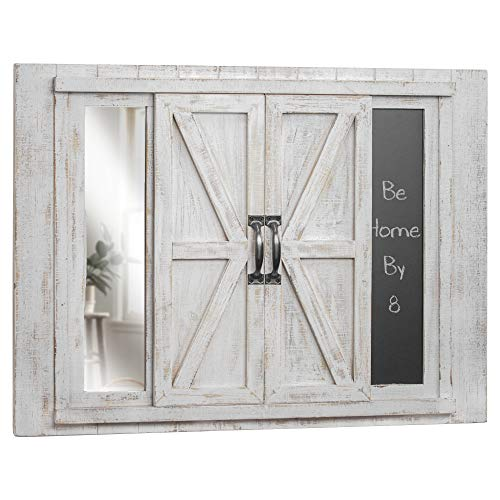 American Art Décor Wood Sliding Barn Door Photo Picture Frame with Chalkboard and Mirror