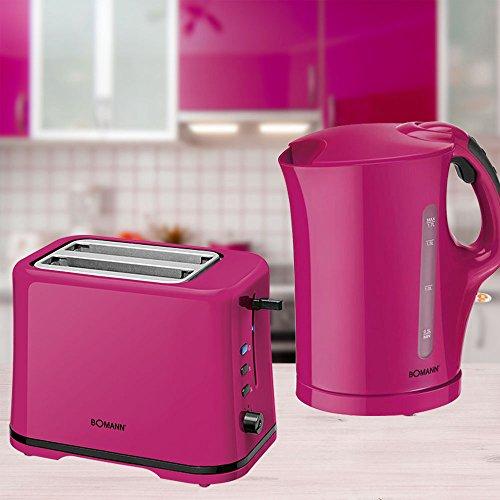 2er Frühstücks Küchen Set 1,7l Wasserkocher kabellos Brötchen Aufsatz 2-Scheiben Toaster brombeer