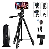 Phone Tripod, Mpow 53' Extendable Travel Video Tripod Stand with Cell Phone Mount Holder & V5 Bluetooth Remote, Carry Bag, Tripod Compatible with iPhone SE/11/11PRO/XS Max/XS/XR/X/8P, Android,Camera
