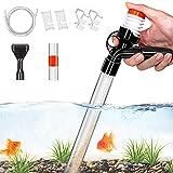 SSRIVER - Limpiador de Grava para Acuario con Boquilla Larga para Cambio de Agua y Filtro de Grava con botón de presión de Aire y Controlador de Flujo de Agua Ajustable, sin BPA