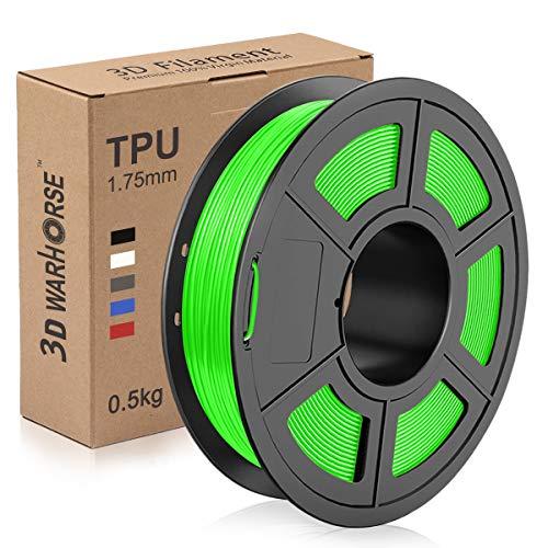 TPU Filament 1.75mm Flexible, 3D Printer Filament Dimensional Accuracy + - 0.03 mm, 0.5 Kg Spool, Green