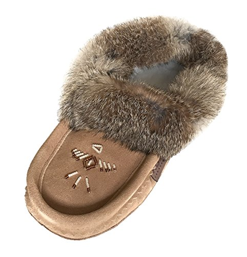 Laurentian Chief Womens Black Suede Slippers with Rabbit Fur Collar Moccasins