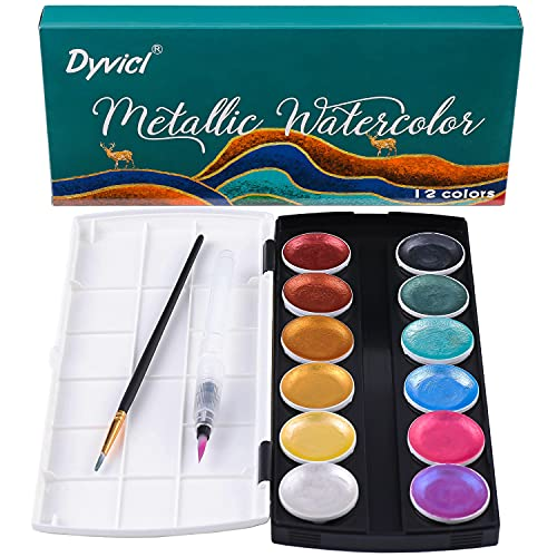 Dyvicl Glitter Metallic Watercolor Set - 12 Assorted Colors, Portable Box with Water Brush, Metallic Accents for Black Paper Drawing, Illustrating, Making Card, Coloring Books