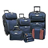 Travel Select Amsterdam Expandable Rolling Upright Luggage, Navy, 8-Piece Set