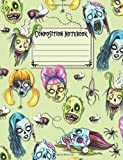 Composition Notebook: Wide Ruled Blank Lined Paper Notebook - Zombie Heads and Spiders Collage Green (CNW 7.44' x 9.69' 110pages)