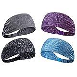 Sport-Stirnbänder für Damen und Herren, 4 Farben, leicht, weich, rutschfest, ideal für Laufen, Yoga, Pilates, Tanzen, Radfahren, Fitnessstudio, Reisen, 4 Stück
