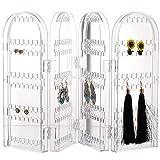 4 Capa Plegable Pendiente Almacenaje Soporte Joyera Expositor Caja Acrlico Transparente Organizador Estuche Colgante para Collar Tienda