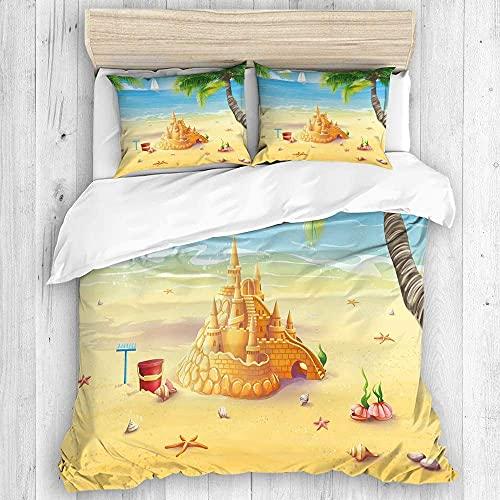 Funda nórdica, Ilustración de playa de la orilla del mar con palmeras, conchas marinas y juego de funda nórdica de castillo de arena, ropa de cama con lazos de cremallera, protector de edredón de tact
