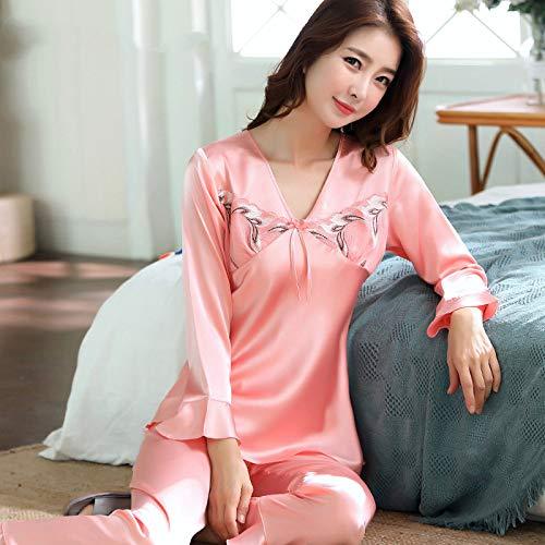 QWKLNRA Conjunto Pijama Seda Mujer,Traje De Pijama De Seda Rosa Claro para Mujer, Ropa De Hogar De Manga Larga, Ropa Casual/Adecuado para Primavera, Verano, Otoño/Se Puede Usar como Regalo De Cumpl