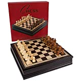 Kavi Black Inlaid Wood Chess Board Game with Weighted Wooden Pieces and Tray - 18 Inch Set (Large)