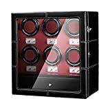 JQUEEN 6 Watch Winder with Quiet Motor,6 Winding Spaces and 6 Storages with LED Illumination