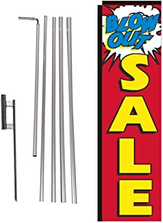 Blowout Sale Advertising Rectangle Feather Banner Flag with Pole Kit and Ground Spike for New and Used Auto Dealership Car Lots