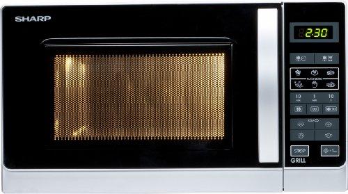 Sharp R642INW Mikrowelle / 2-in-1 Grill-Kompakt-Mikrowellengerät / Tageszeitanzeige / Kindersicherung