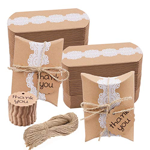 HOWAF 100 Stück Kraftpapier Tüten Hochzeit Gastgeschenke Vintage-Spitze Stil Geschenkboxen 6x9cm, mit Danksagung anhänger Etiketten Hochzeit Dekorationen Rustikale