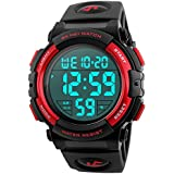 Men 's Large Face Digital Outdoor Sports Waterproof Watch LED Luminous Alarm Stopwatch Simple Army (Red)