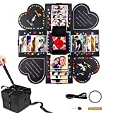 Seglory Caja de sorpresa, caja de regalo, caja creativa sorpresa, álbum de fotos plegable, aniversario, cumpleaños, día de la madre, San Valentín, boda, regalo personalizado, color negro