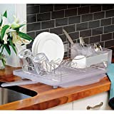 Polder Stainless Steel Dish Rack, 14-inch, Silver/Clear