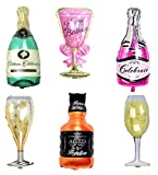 6 Pack Party Large Foil Balloons - Whiskey and Champagne Bottles with Goblet Glasses 33in. Tall