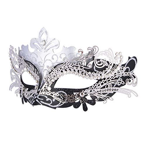 Hoshin Maskerade Maske, Karneval Dekorationen Venezianische Masken für Frauen (Silber & Schwarz)