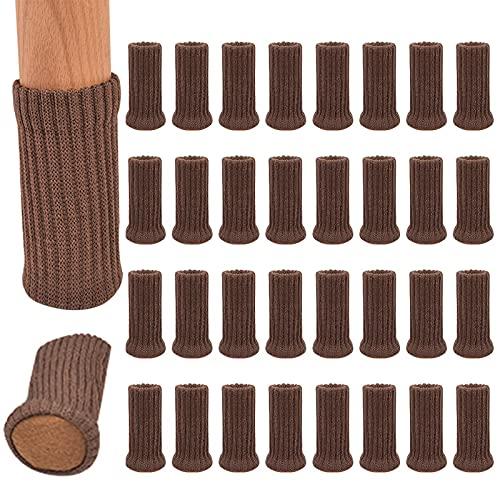 otutun Calcetines elásticos para Silla de Mesa, Juego de 32 calcetines de silla de alta elasticidad de suelo antideslizantes, Calcetines Silla para Muebles, Diámetro de ajuste de 1'a 2' (marrón)