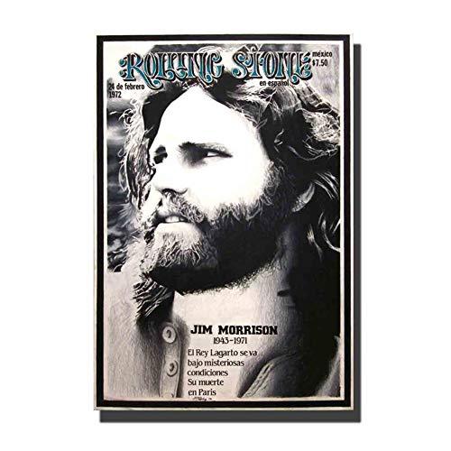 chtshjdtb Die Türen Rock Band Vintage Jim Morrison Musik HD Kunst Poster Wanddekoration Leinwand Raumdekoration Druck auf Leinwand -50x70cm Kein Rahmen