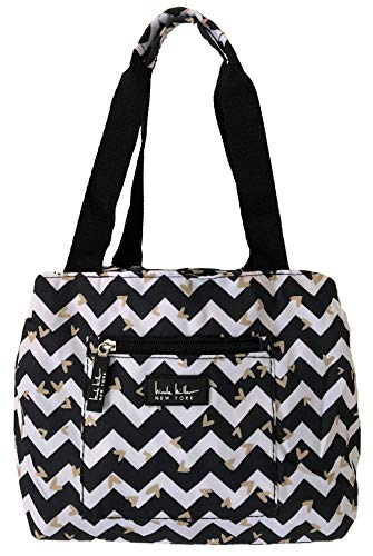 Nicole Miller of New York Insulated Waterproof Lunch Box Cooler Bag - 11 Lunch Tote BlackWhite Chevron Heart
