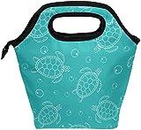 Bolsa de almuerzo, tortuga marina blanca dibujada a mano, lonchera con aislamiento azul, bolso portátil térmico, contenedor de alimentos, enfriador, reutilizable