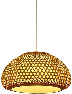 Chandelier Bambou Lampe Suspension Lustre Naturel en rotin