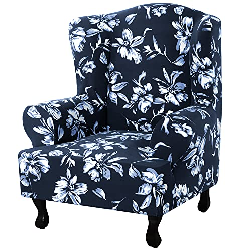 NOPEXTO Wingback Chair Covers,Printed Wingback Chair Slipcover,Wing Chair Cover Furniture Cover Slipcovers,1-Piece Stretch Wing Chair Covers (Navy)