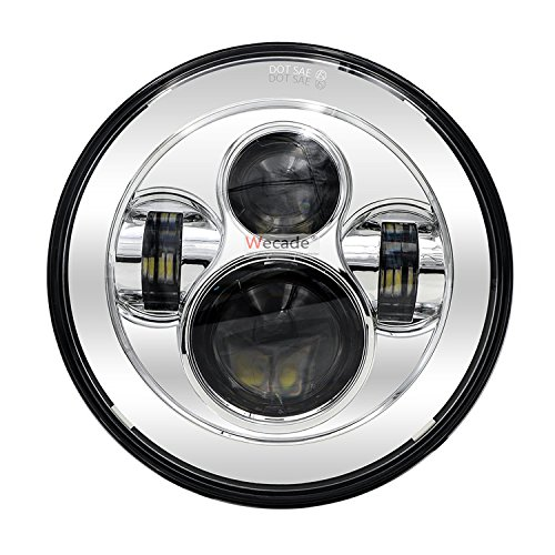 """Wecade 7"""" Round Daymaker LED Projectior Headlight for Jeep Wrangler Motorcycle (7"""" Inch Chrome)"""