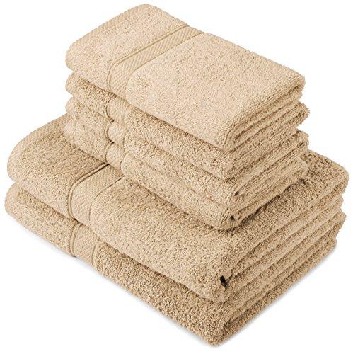 Pinzon by Amazon - Juego de toallas de algodón egipcio (2 toallas de baño y 4 toallas de manos), color beige