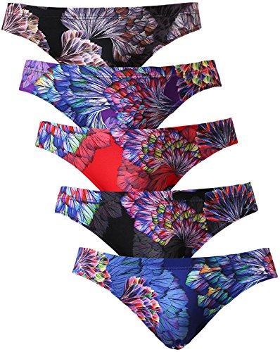 ブリーフ メンズ ビキニブリーフ セット 男性下着 ローライズ セクシー 立体成型 前閉じ パンツ 大きいサイズ 羽柄 5枚