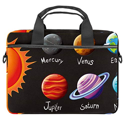 13.4-14 Inch Laptop Bag,Multifunctional Laptop Case,Portable Sleeve Briefcase,Adjustable Shoulder Strap Space Solar System Universe Planets