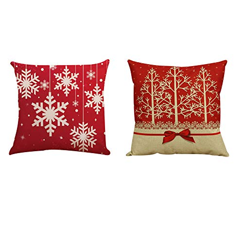 Merry Christmas Pillow Covers 18x18 Set of 2 Wakeu Tree Lace Bow Snowflake Throw Pillow Cases Sofa Couch Cushions Covers Holiday Home Decor New Year Easter Ornaments (red)
