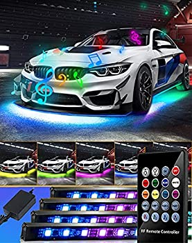 EJ s SUPER CAR Car Underglow Lights Underglow Underbody System Neon Strip Lights Kit,8 Color Neon Accent Lights Strip,Sound Active Function and Wireless Remote Control 5050 SMD LED Light Strips
