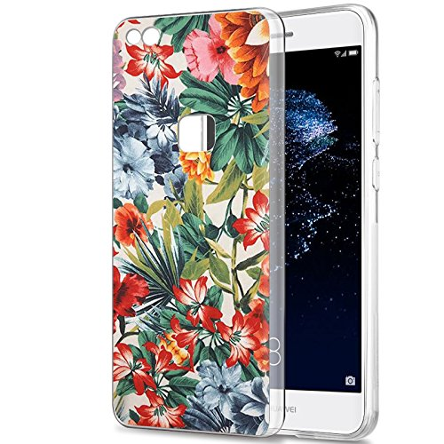 Eouine Cover Huawei P10 Lite, Ultra Slim Cover Trasparente con Disegni, Morbido Antiurto Gel Bumper Case Custodia in TPU Silicone per Huawei P10 Lite (Fiore colorato)